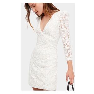 FREE PEOPLE  Long Sleeve Textured Lace Deep Dress